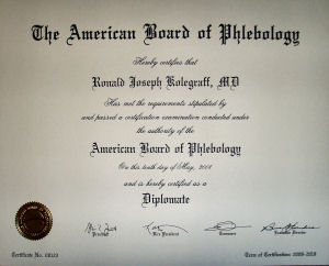 Photo of Dr. Kolegraff's RVT credential nationally recognized.