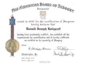Photo of Dr. Kolegraff's Board Certification in Surgery from the American Board of Surgery.