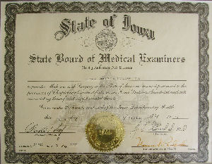 Photo of Dr. Kolegraff's medical license from Iowa.