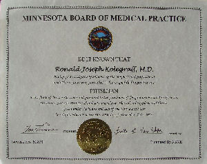 Photo of Dr. Kolegraff's medical license from Minnesota.