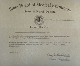 Photo of Dr. Kolegraff's medical license from North Dakota.